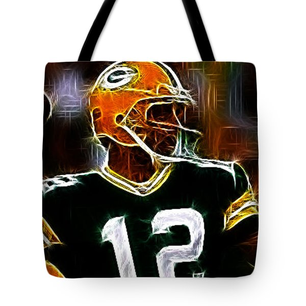 Aaron Rodgers - Green Bay Packers Tote Bag by Paul Ward