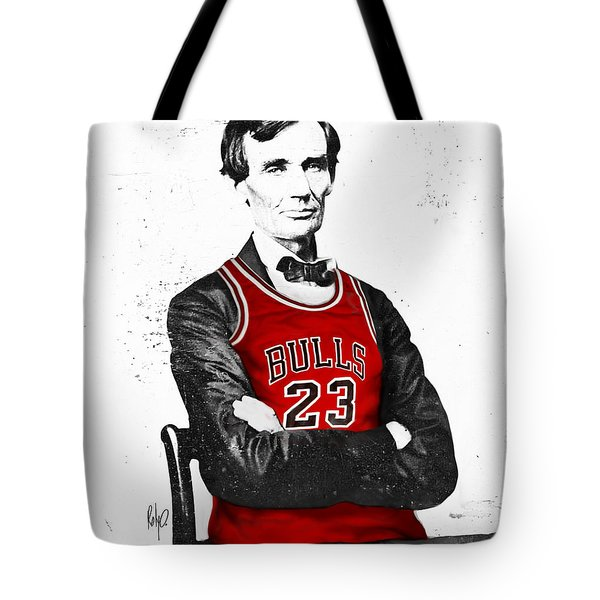 Abe Lincoln In A Bulls Jersey Tote Bag by Roly Orihuela