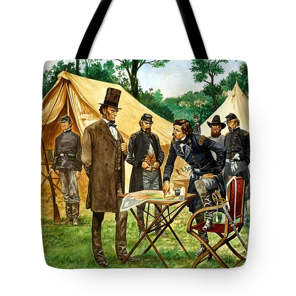Abraham Lincoln Plans His Campaign During The American Civil War  Tote Bag by Peter Jackson