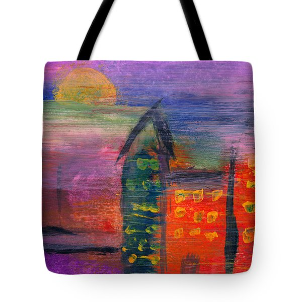 Abstract - Acrylic - Lost in the city Tote Bag by Mike Savad