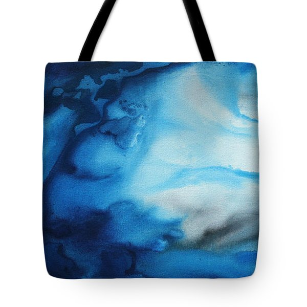 Abstract Art Original Blue Pianting UNDERWATER BLUES by MADART Tote Bag by Megan Duncanson