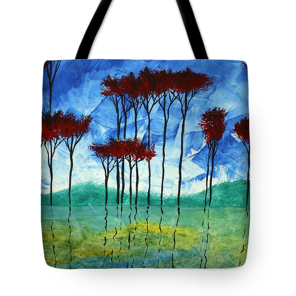 Abstract Art Original Landscape Painting Reflective Beauty By Madart Tote Bag by Megan Duncanson