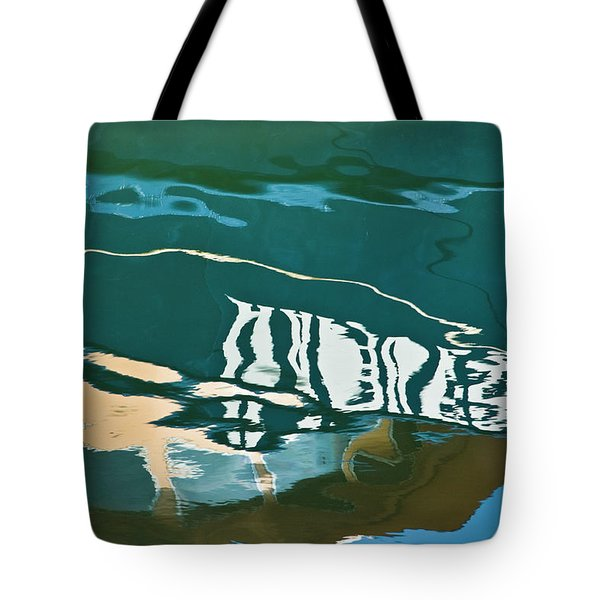 Abstract Boat Reflection Tote Bag by Dave Gordon