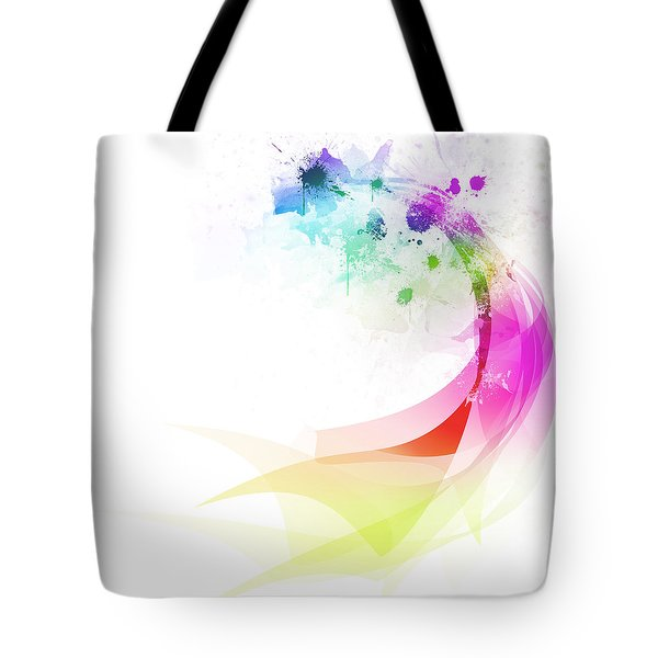 Abstract colorful curved Tote Bag by Setsiri Silapasuwanchai