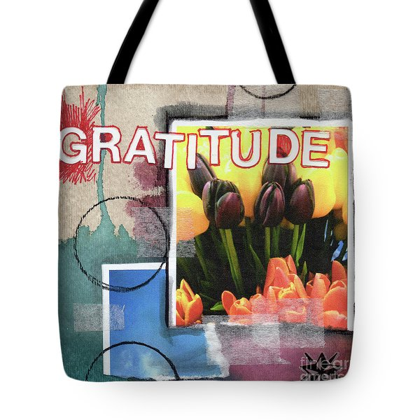 Abstract Gratitude Tote Bag by Linda Woods