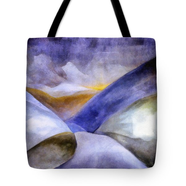 Abstract Mountain Landscape Tote Bag by Michelle Calkins