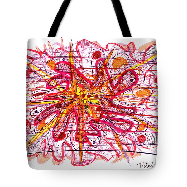 Abstract Pen Drawing Fifteen Tote Bag by Lynne Taetzsch