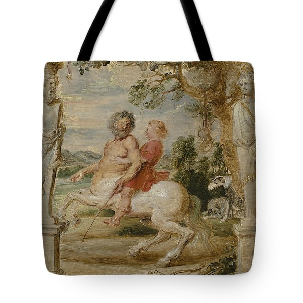 Achilles Educated By The Centaur Chiron Tote Bag by Peter Paul Rubens