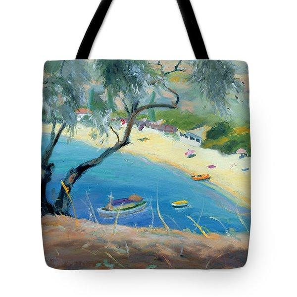 Achladies Bay - Skiathos - Greece Tote Bag by Anne Durham