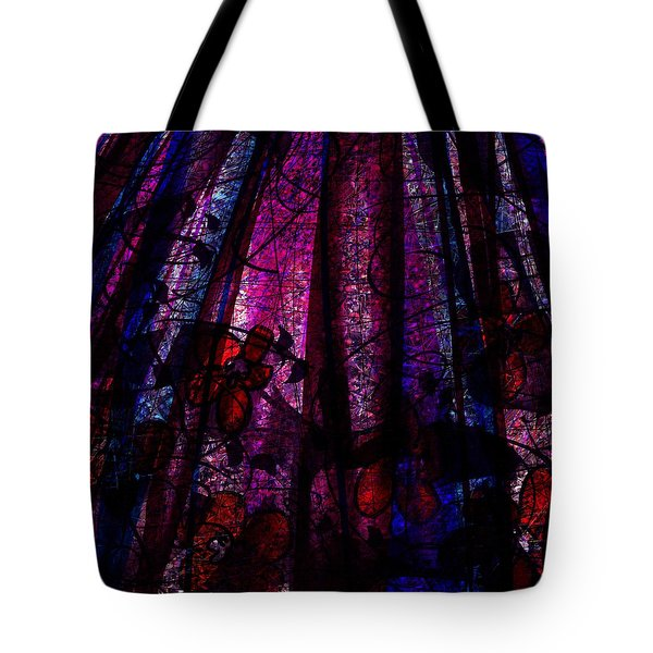 Acid Rain with Red Flowers Tote Bag by Rachel Christine Nowicki