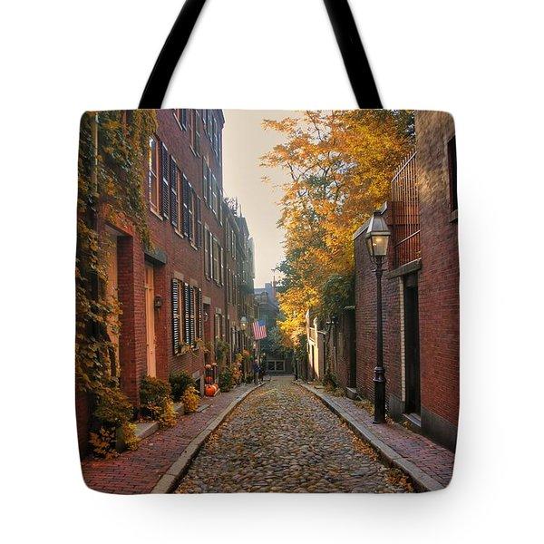 Acorn St. 3 Tote Bag by Joann Vitali