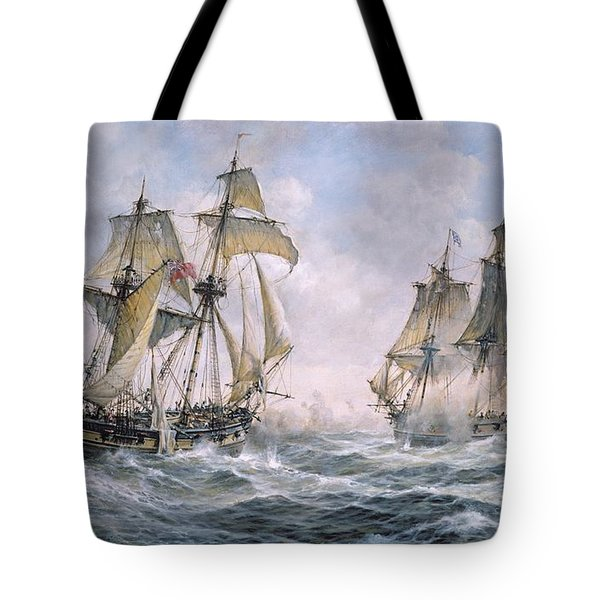 Action Between U.s. Sloop-of-war 'wasp' And H.m. Brig-of-war 'frolic' Tote Bag by Richard Willis