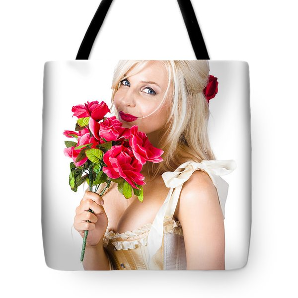 Adorable Florist Woman Smelling Red Flowers Tote Bag by Ryan Jorgensen