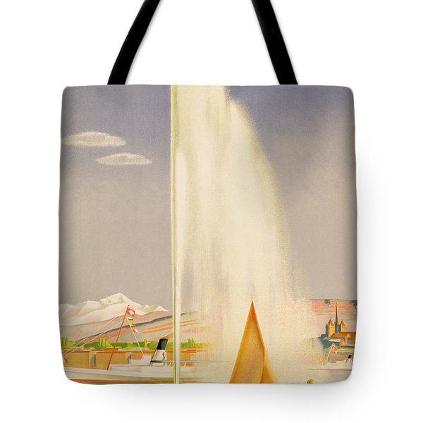 Advertisement For Travel To Geneva Tote Bag by Fehr