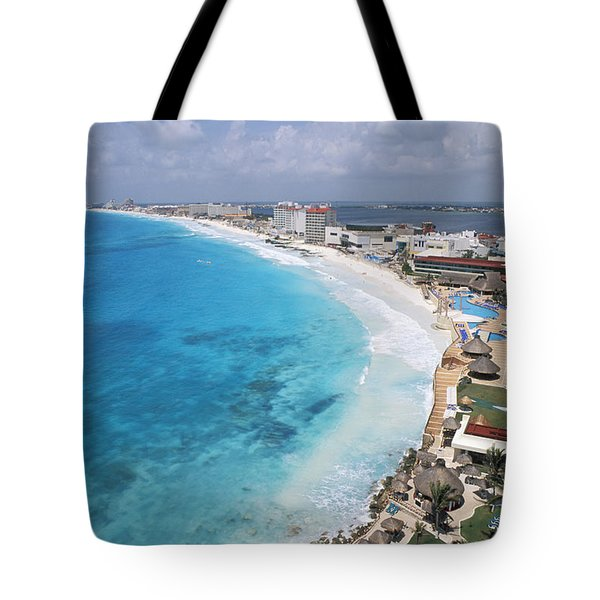 Aerial Of Cancun Tote Bag by Bill Bachmann - Printscapes