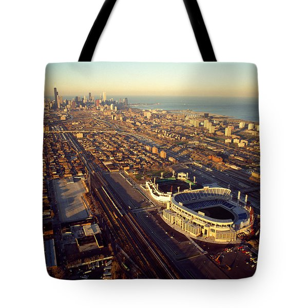 Aerial View Of A City, Old Comiskey Tote Bag by Panoramic Images