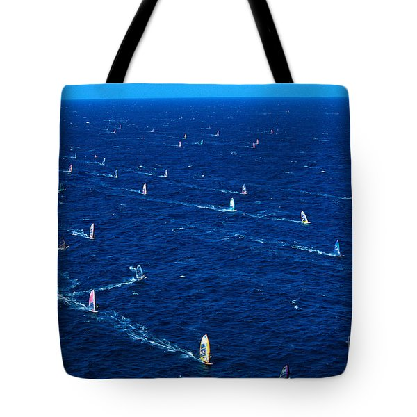 Aerial View Of Windsurfer Tote Bag by Erik Aeder - Printscapes