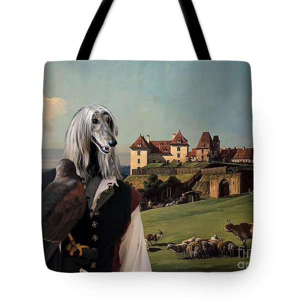 Afghan Hound-falconer And Castle Canvas Fine Art Print Tote Bag by Sandra Sij