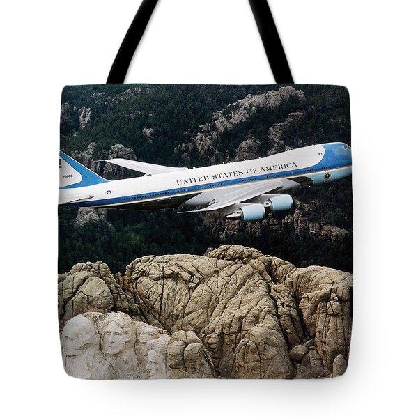 Air Force One Flying Over Mount Rushmore Tote Bag by War Is Hell Store
