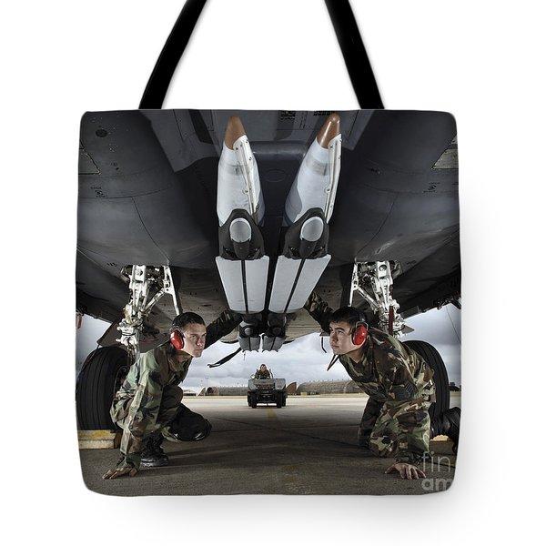 Airmen Check The Gbu-39 Small Diameter Tote Bag by Stocktrek Images