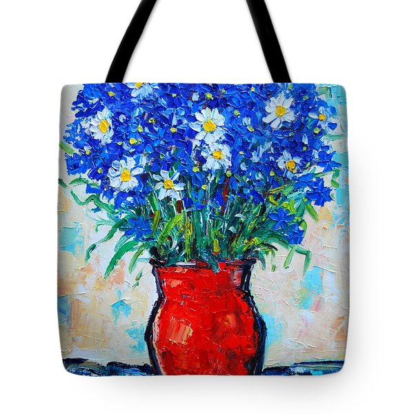 Albastrele Blue Flowers And Daisies Tote Bag by Ana Maria Edulescu
