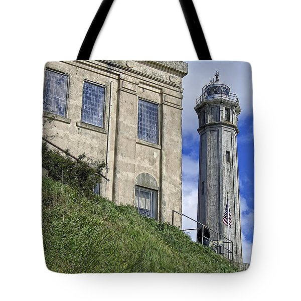 Alcatraz Cell House And Lighthouse Tote Bag by Daniel Hagerman