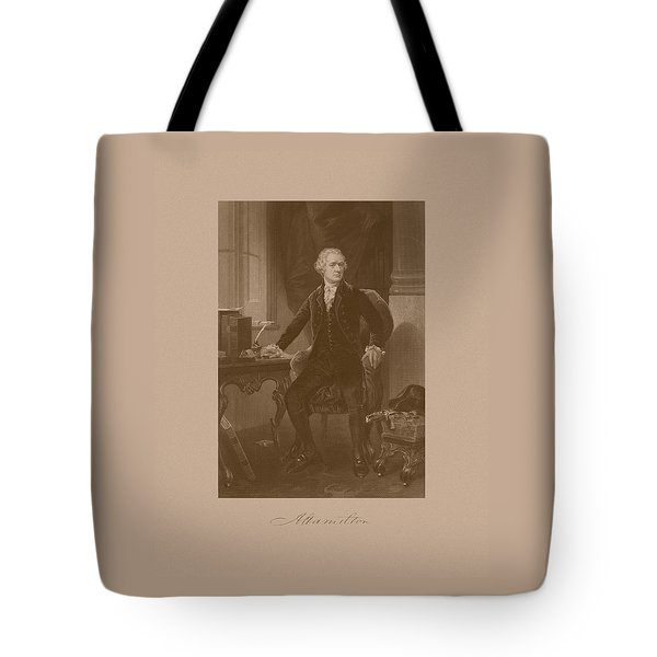 Alexander Hamilton Sitting At His Desk Tote Bag by War Is Hell Store