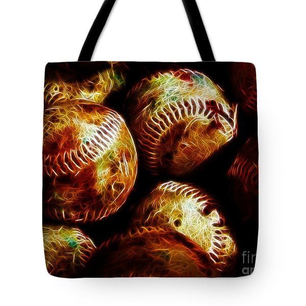 All American Pastime - A Pile Of Fastballs - Electric Art Tote Bag by Wingsdomain Art and Photography