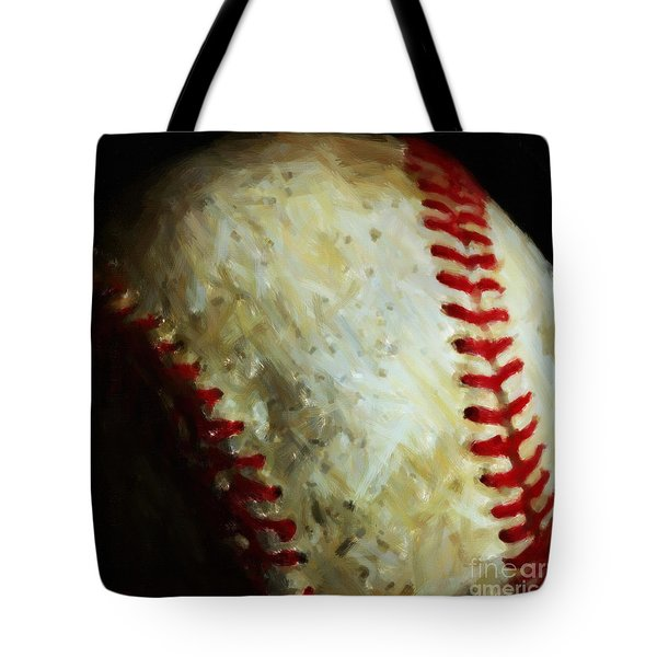 All American Pastime - Baseball - Square - Painterly Tote Bag by Wingsdomain Art and Photography