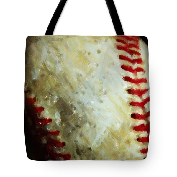 All American Pastime - Baseball - Vertical Cut - Painterly Tote Bag by Wingsdomain Art and Photography