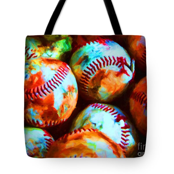 All American Pastime - Pile Of Baseballs - Painterly Tote Bag by Wingsdomain Art and Photography