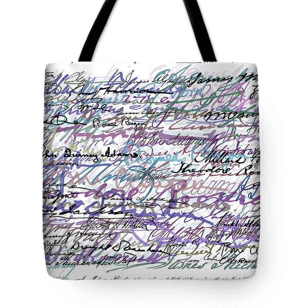 All The Presidents Signatures Blue Rose Tote Bag by Tony Rubino