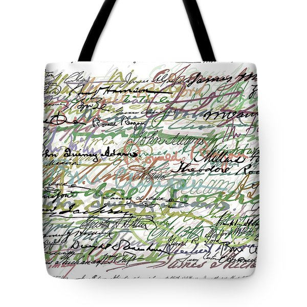 All The Presidents Signatures Green Sepia Tote Bag by Tony Rubino