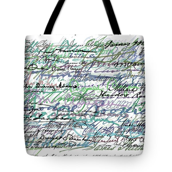 All The Presidents Signatures Teal Blue Tote Bag by Tony Rubino