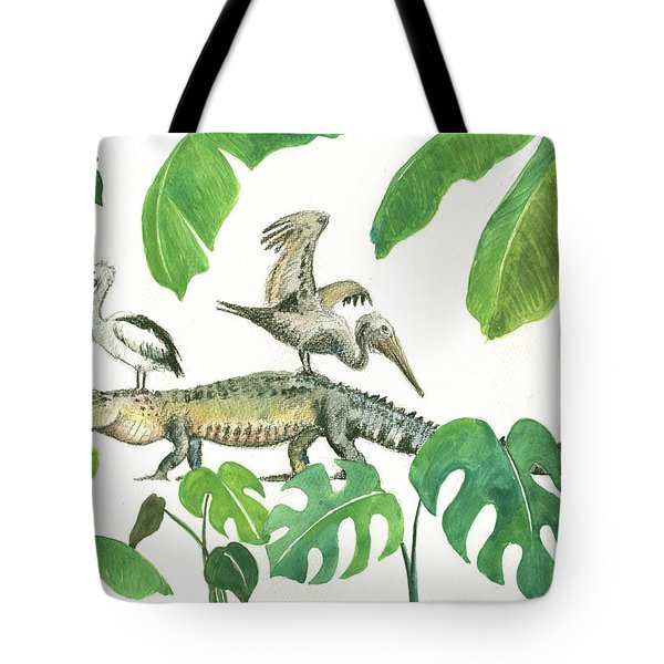 Alligator And Pelicans Tote Bag by Juan Bosco