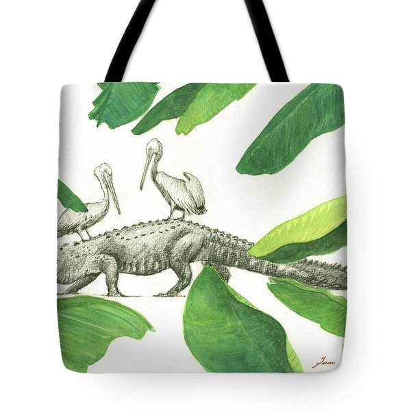 Alligator With Pelicans Tote Bag by Juan Bosco