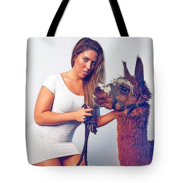 Alpaca Mr. Tex And Breanna Tote Bag by TC Morgan