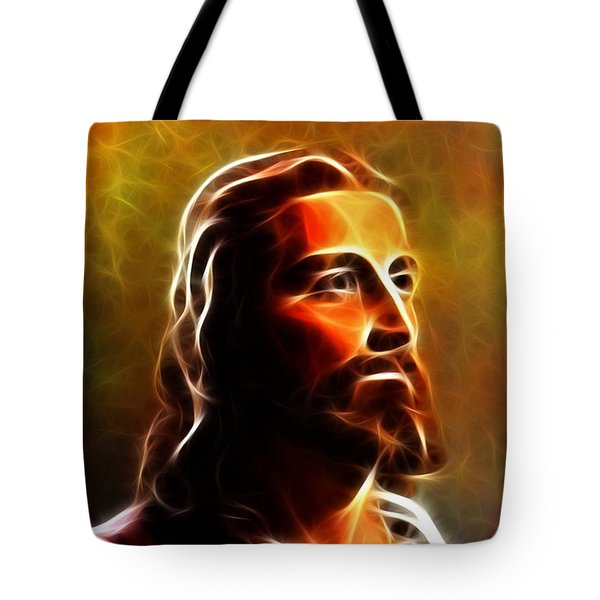 Amazing Jesus Portrait Tote Bag by Pamela Johnson