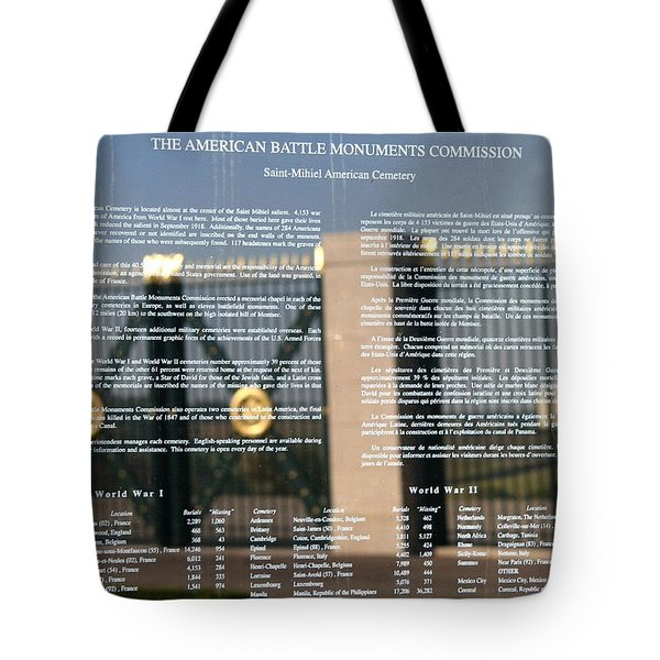 Tote Bag featuring the photograph American Battle Monuments Commission by Travel Pics