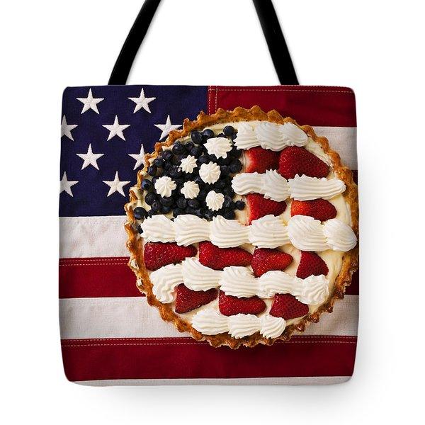 American Pie On American Flag  Tote Bag by Garry Gay