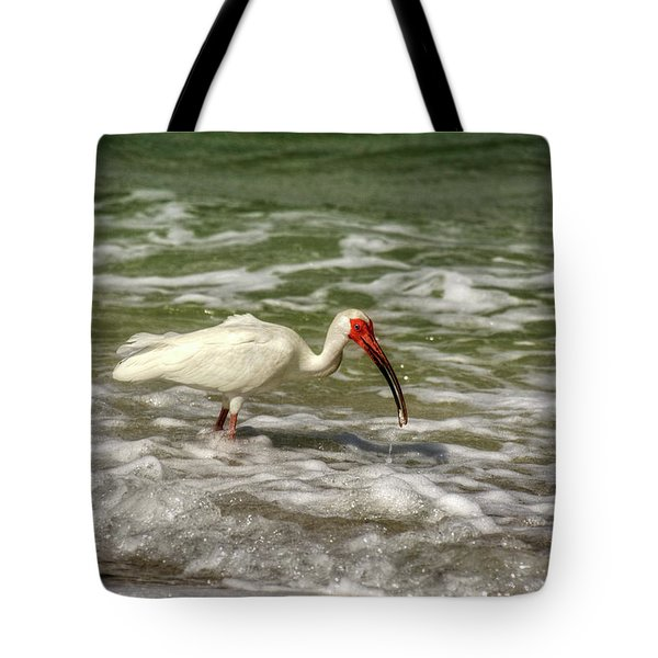 American White Ibis Tote Bag by Chrystal Mimbs