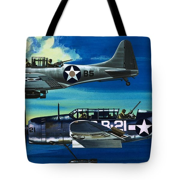 American Ww2 Planes Douglas Sbd1 Dauntless And Curtiss Sb2c1 Helldiver Tote Bag by Wilf Hardy