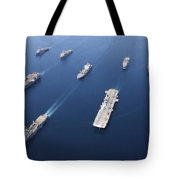 Amphibious Task Force-west In Formation Tote Bag by Stocktrek Images