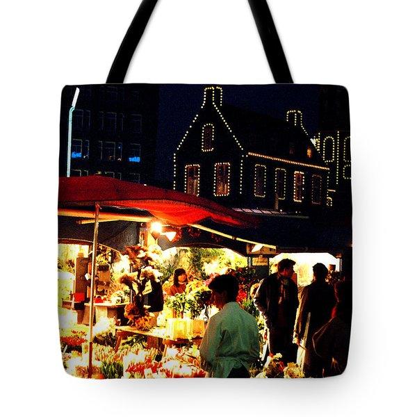 Amsterdam Flower Market Tote Bag by Nancy Mueller