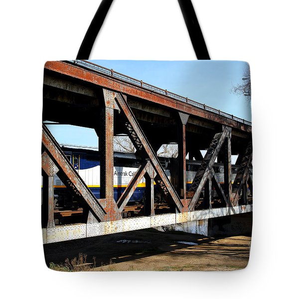 Amtrak California Crossing The Old Sacramento Southern Pacific Train Bridge . 7d11410 Tote Bag by Wingsdomain Art and Photography