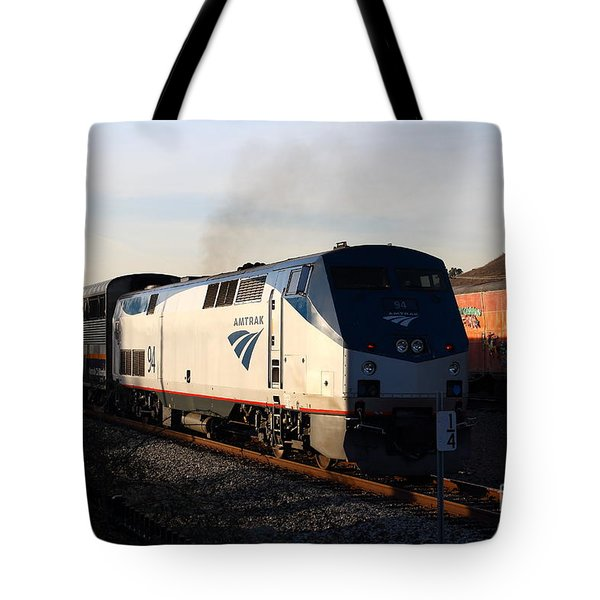Amtrak Trains at The Niles Canyon Railway In Historic Niles District California . 7D10856 Tote Bag by Wingsdomain Art and Photography