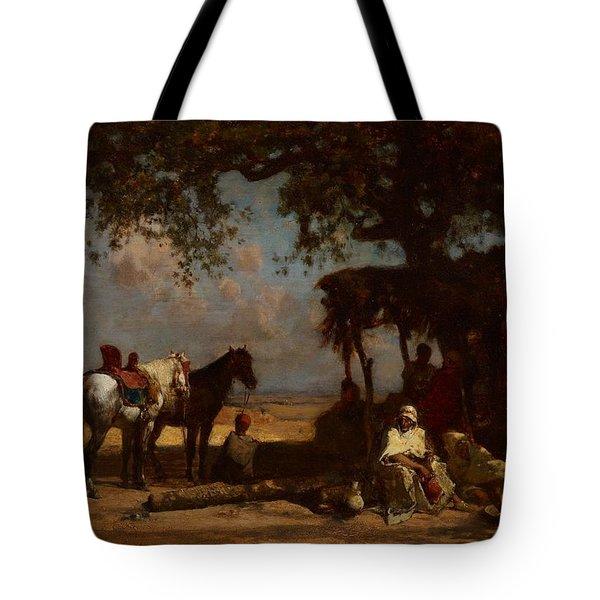 An Arab Encampment Tote Bag by Gustave Guillaumet