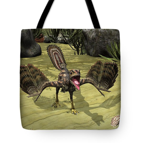 An Archaeopteryx Depicted Tote Bag by Walter Myers