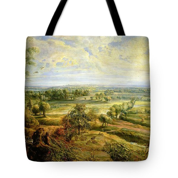 An Autumn Landscape With A View Of Het Steen In The Early Morning Tote Bag by Rubens