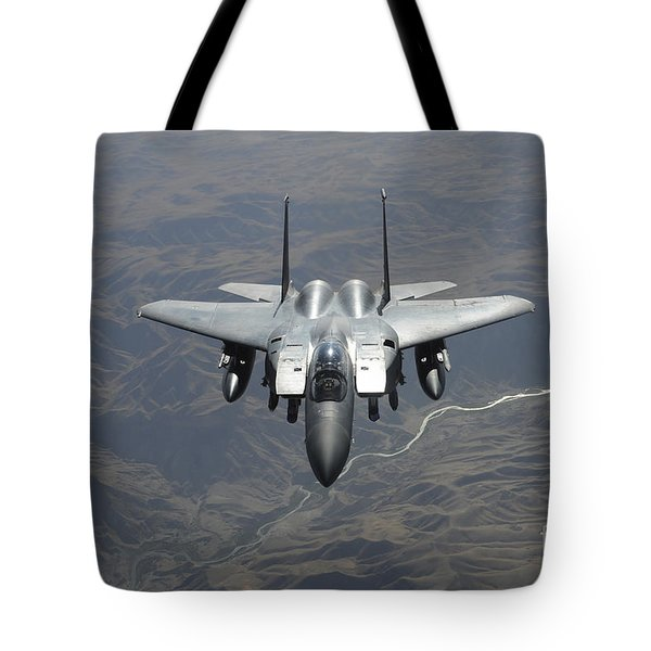An F-15e Strike Eagle Flies Watch Tote Bag by Stocktrek Images